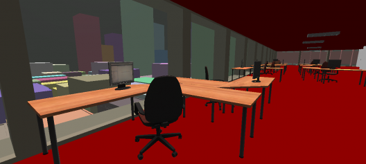 Desks placed procedurally in the building